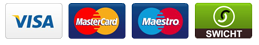 We accept: Visa - MasterCard - Maestro - Switch